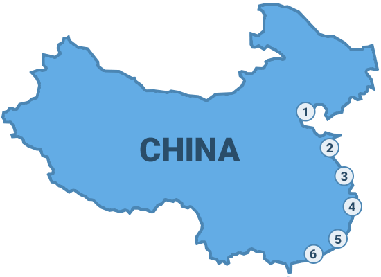 Map of China's ports
