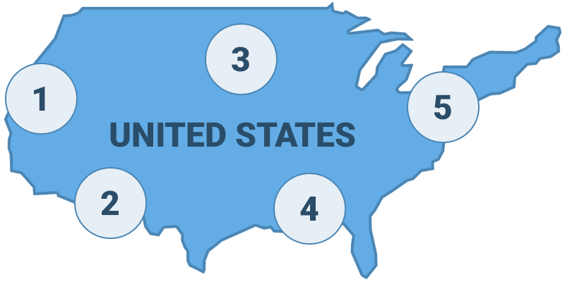 Map of United States regions
